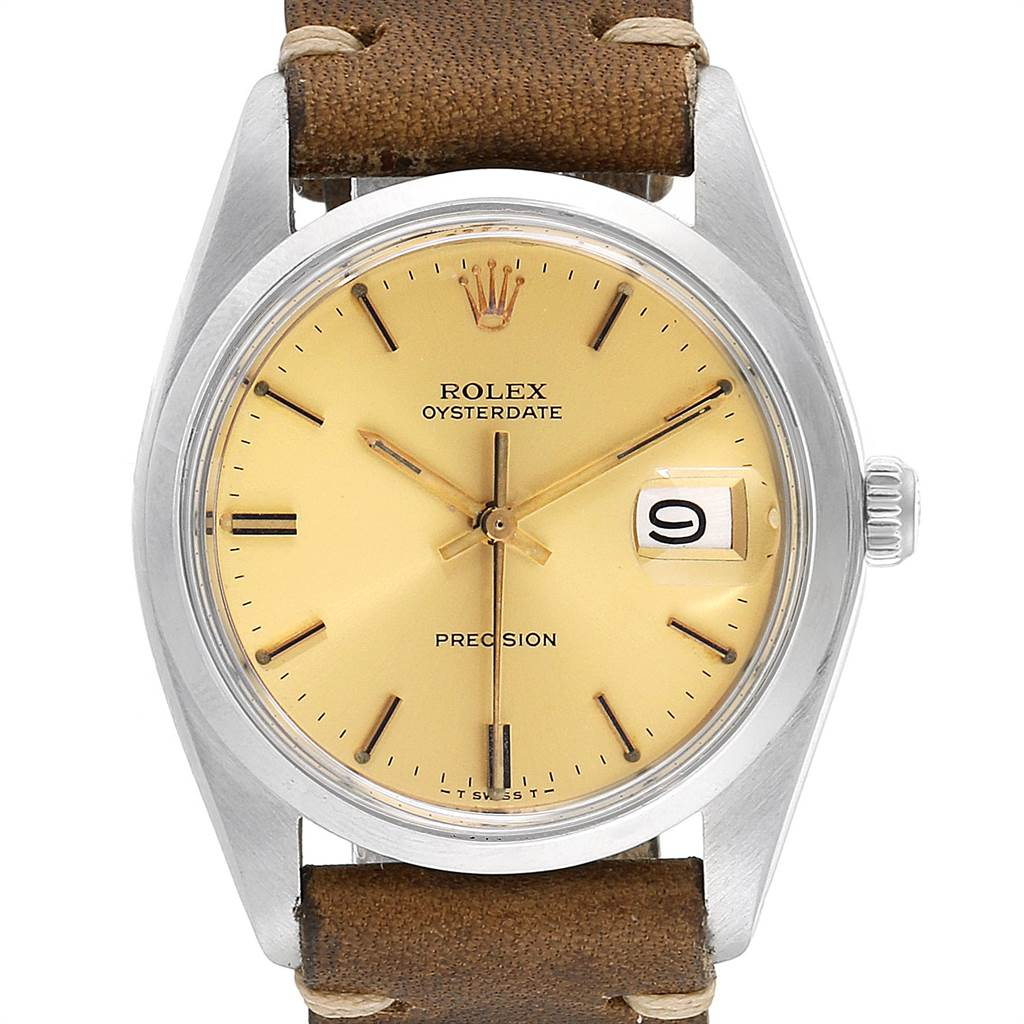 22770 Rolex OysterDate Precision Brown Strap Steel Vintage Mens Watch 6694 SwissWatchExpo