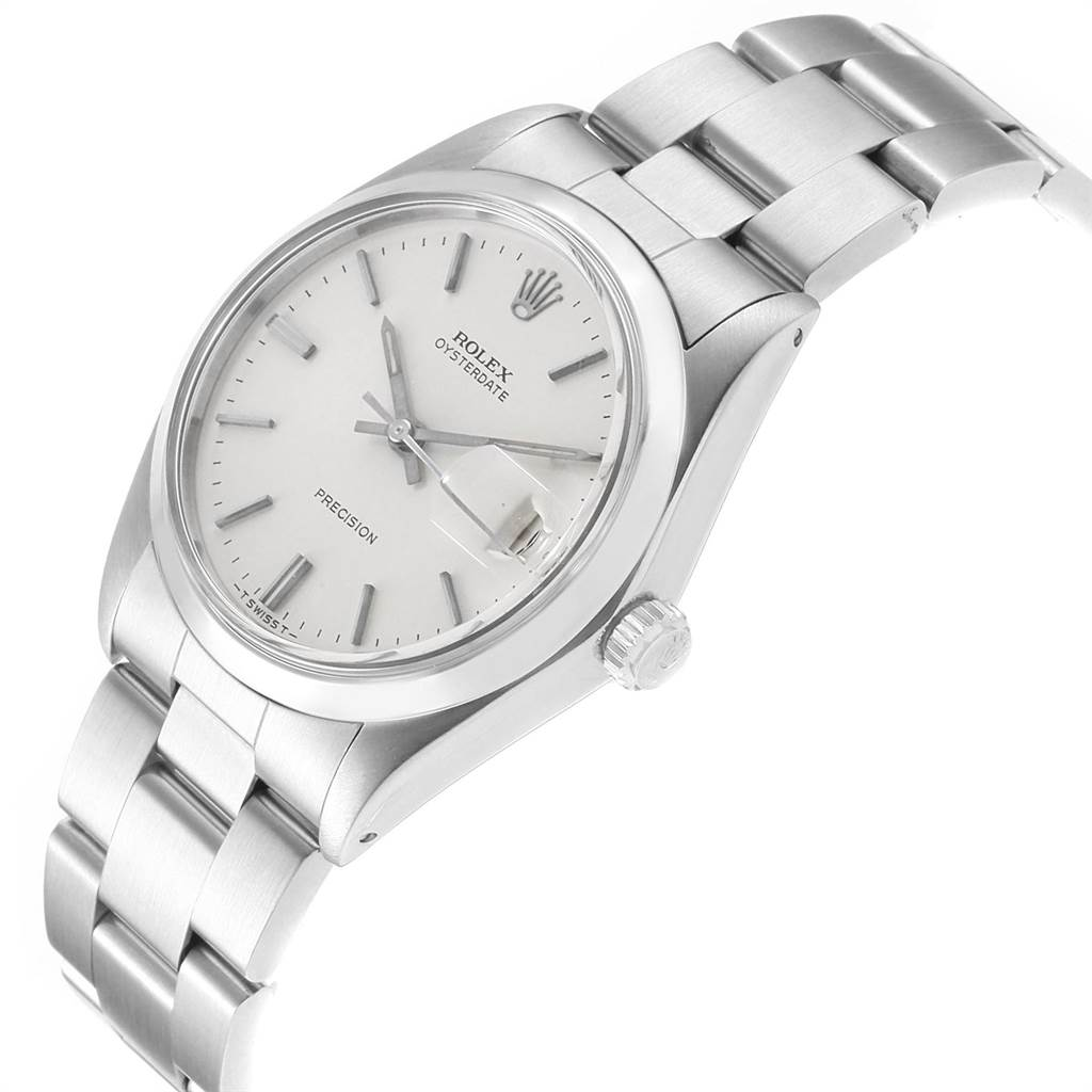 22754 Rolex OysterDate Precision Mechanical Steel Vintage Mens Watch 6694 SwissWatchExpo