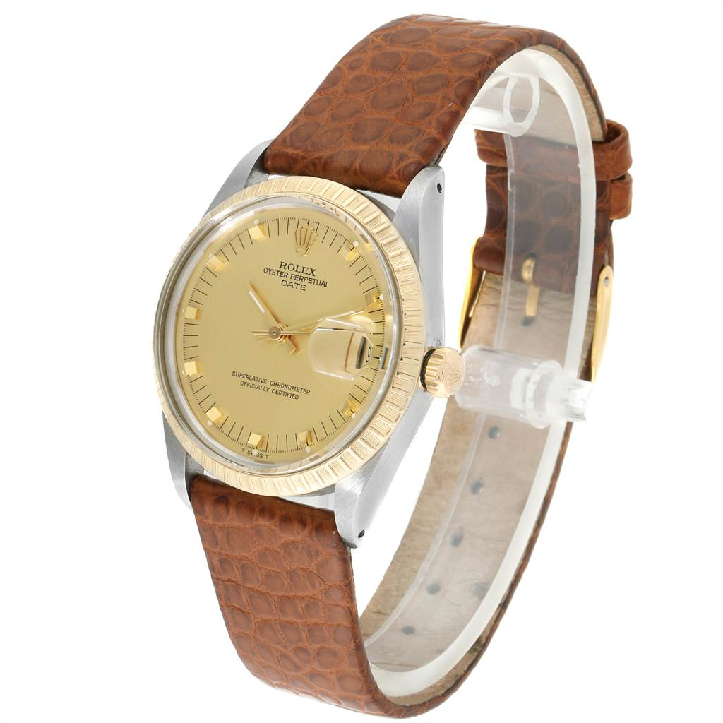 23421 Rolex Date Mens Stainless Steel Brown Strap Yellow Gold Watch 15053 SwissWatchExpo
