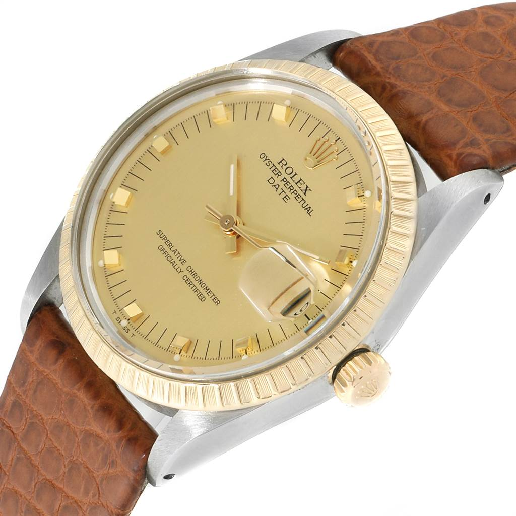 Rolex Date Mens Stainless Steel Brown Strap Yellow Gold Watch 15053 SwissWatchExpo