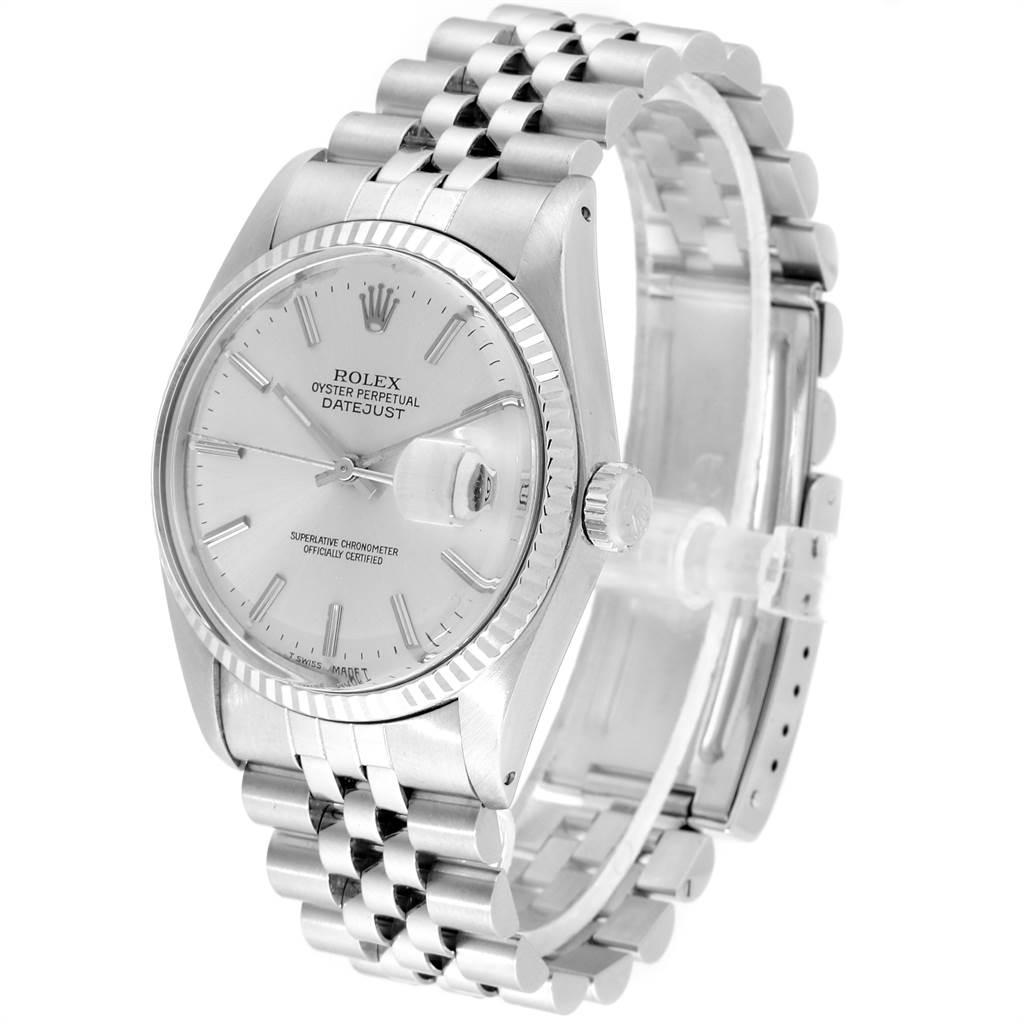 22219 Rolex Datejust Steel White Gold Fluted Bezel Vintage Mens Watch 16014 SwissWatchExpo