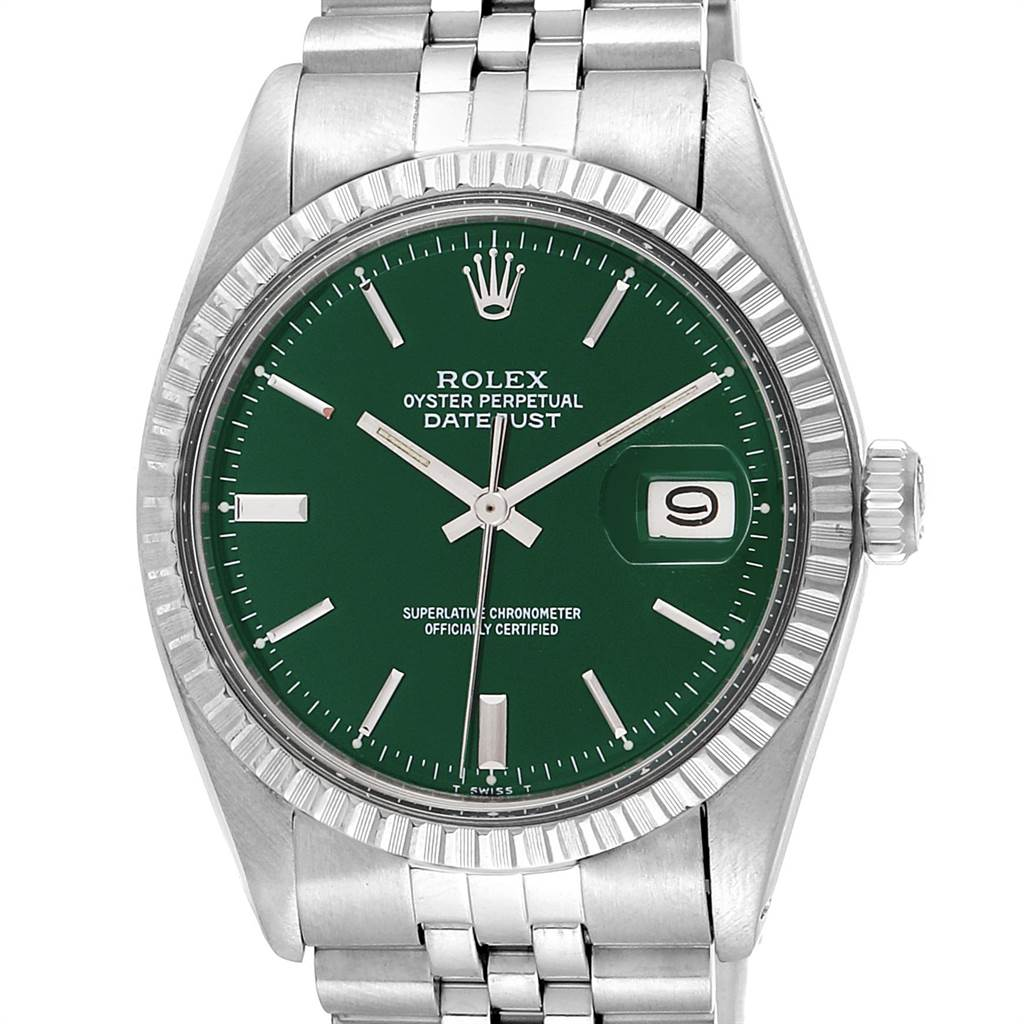 Rolex Datejust Green Dial Jubilee Bracelet Vintage Mens Watch 1603