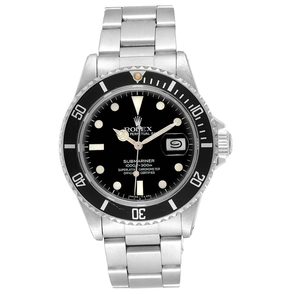 Rolex Submariner Date Steel Mens Vintage Watch 16800 Box SwissWatchExpo