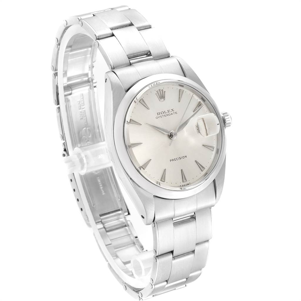 23477 Rolex OysterDate Precision Silver Dial Steel Vintage Mens Watch 6694 SwissWatchExpo