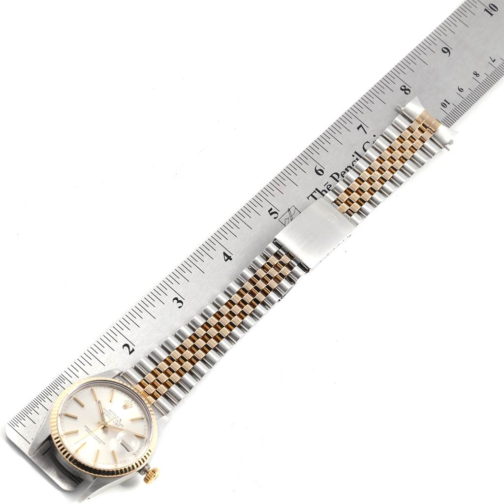 23359 Rolex Datejust Steel Yellow Gold Silver Dial Vintage Mens Watch 16013 SwissWatchExpo