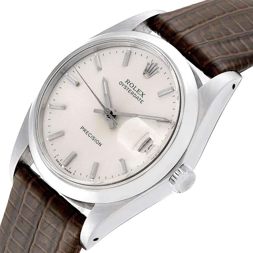 23645 Rolex OysterDate Precision Brown Card Steel Vintage Mens Watch 6694 SwissWatchExpo