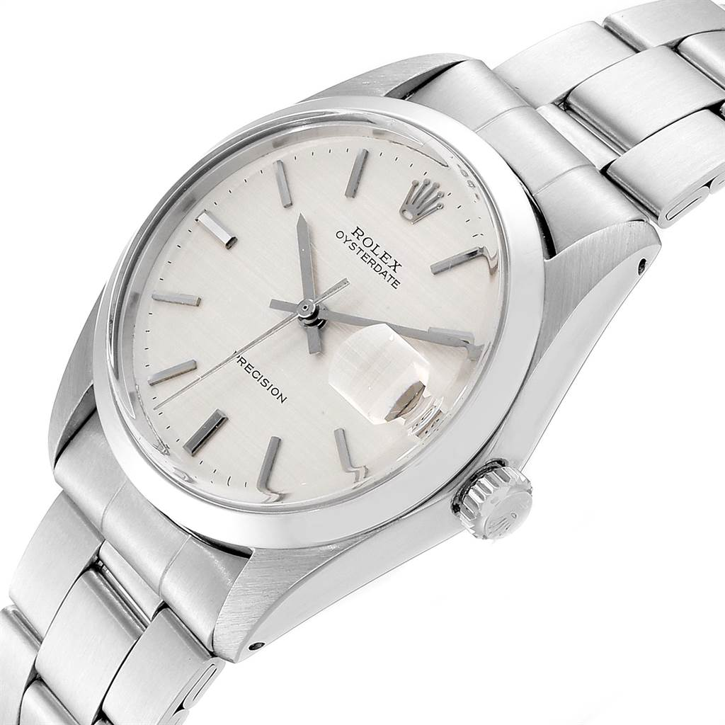 Rolex OysterDate Precision Linen Dial Steel Vintage Mens Watch 6694 SwissWatchExpo