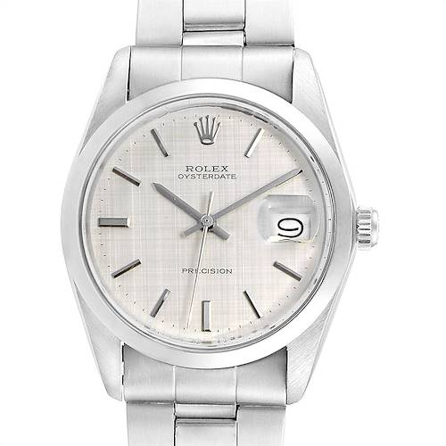 Photo of Rolex OysterDate Precision Linen Dial Steel Vintage Mens Watch 6694