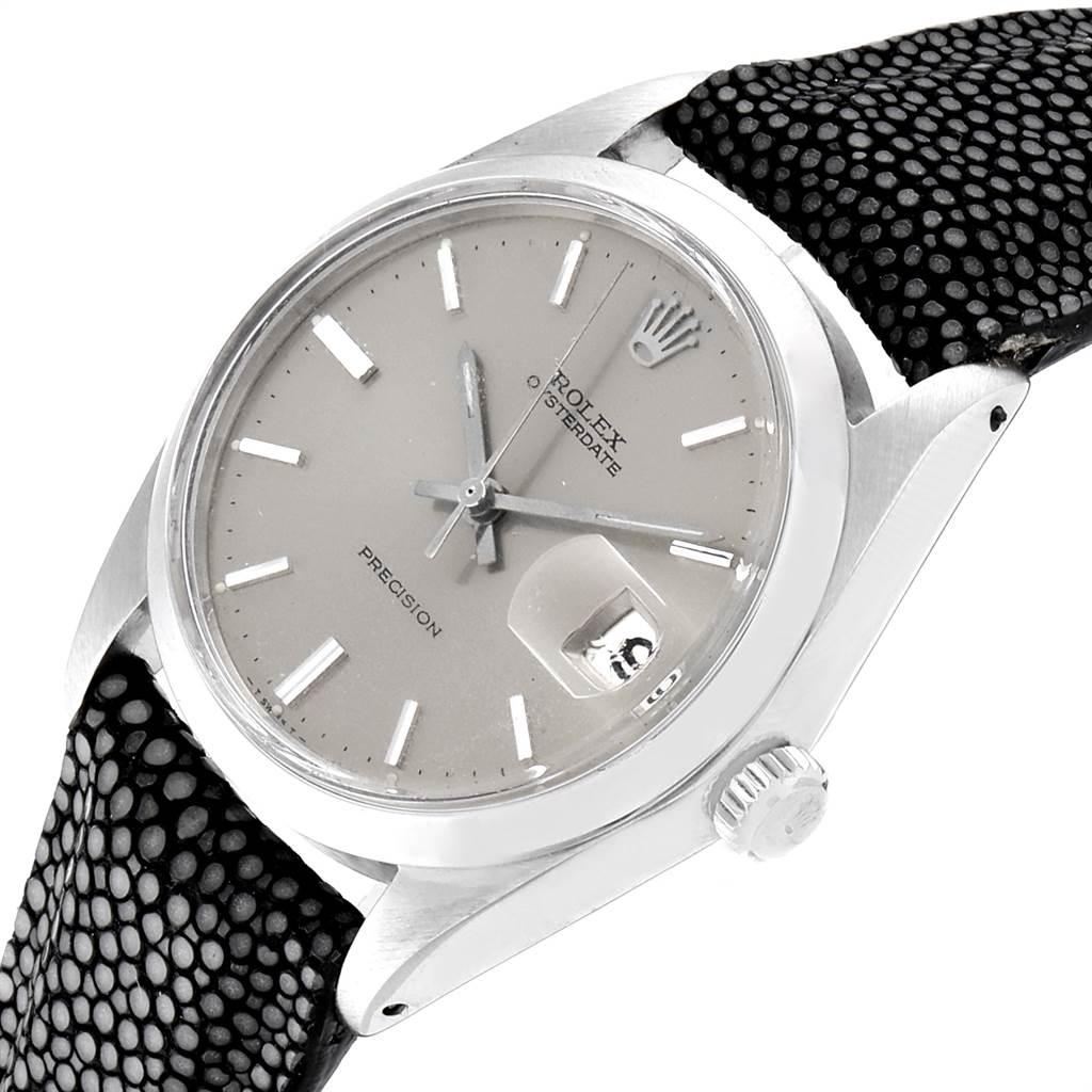 23482 Rolex OysterDate Precision Grey Strap Steel Vintage Mens Watch 6694 SwissWatchExpo