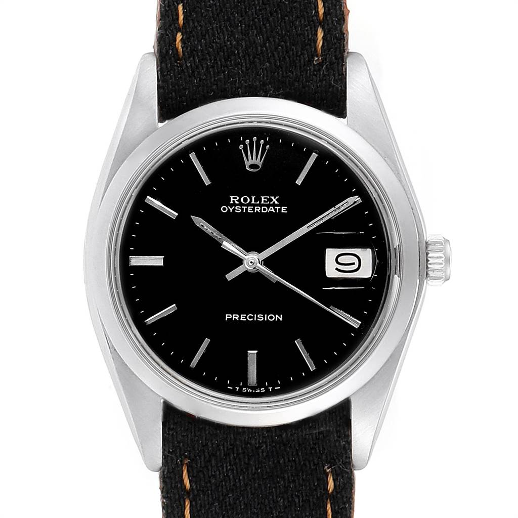 Rolex OysterDate Precision Black Dial Steel Vintage Mens Watch 6694 SwissWatchExpo