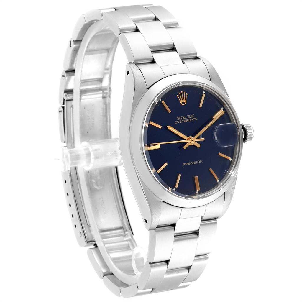 23479 Rolex OysterDate Precision Linen Dial Steel Vintage Mens Watch 6694 SwissWatchExpo