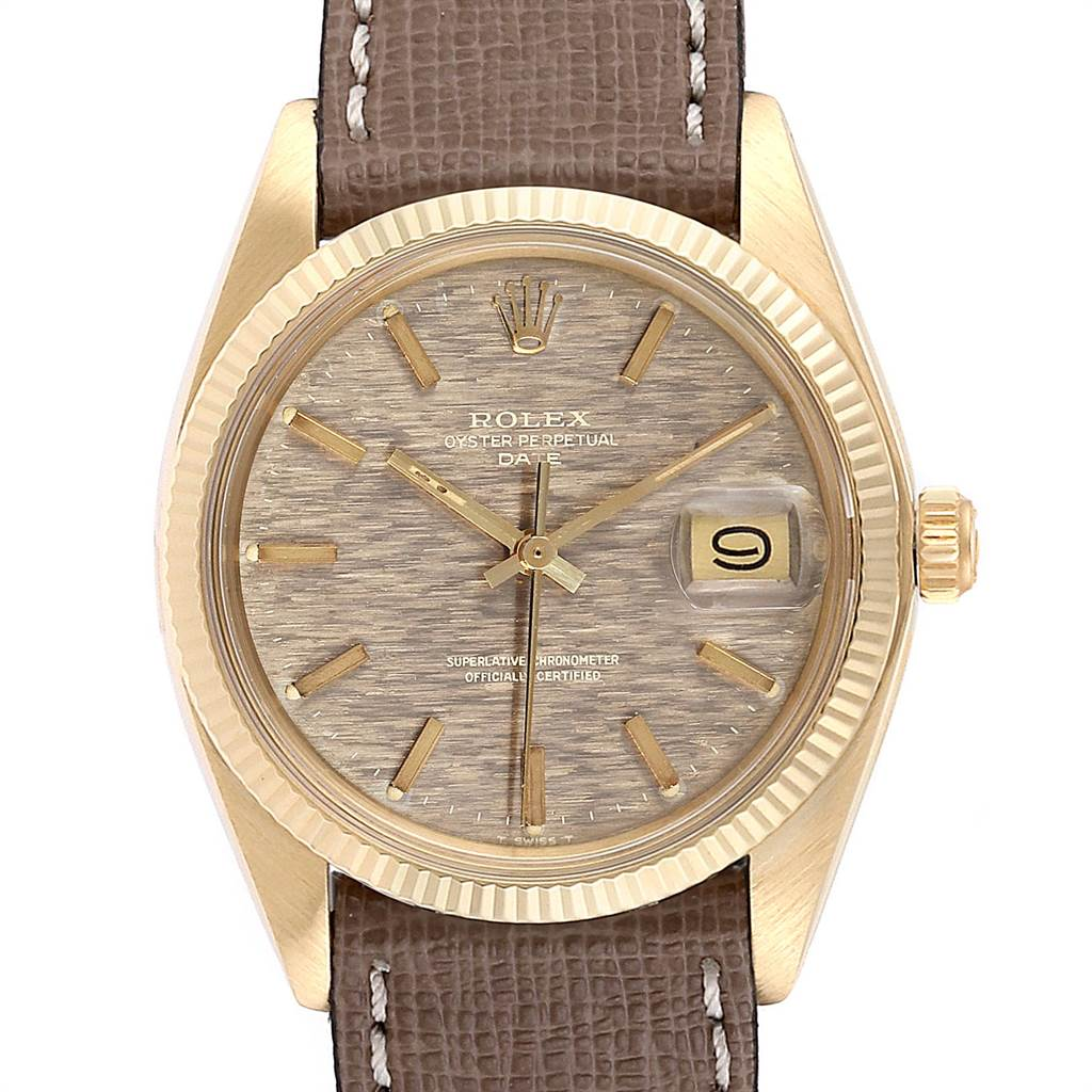 Rolex Date Yellow Gold Bronze Brick Dial Vintage Mens Watch 1503