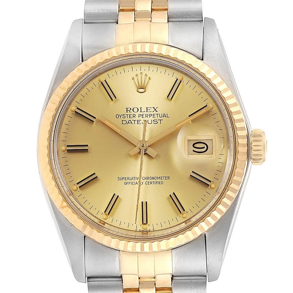 24002 Rolex Datejust 36 Steel Yellow Gold Vintage Mens Watch 16013 SwissWatchExpo