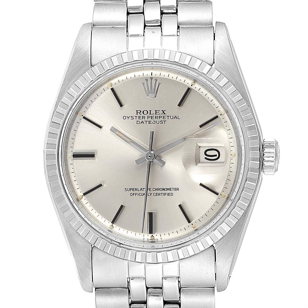 Rolex Datejust 36mm Silver Dial Steel Vintage Mens Watch 1603 SwissWatchExpo