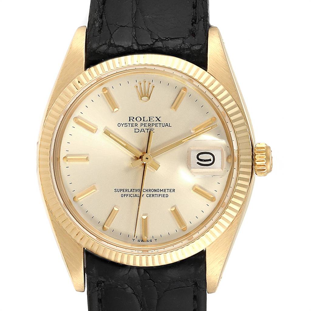 24008 Rolex Date 14K Yellow Gold Automatic Vintage Mens Watch 1503 SwissWatchExpo