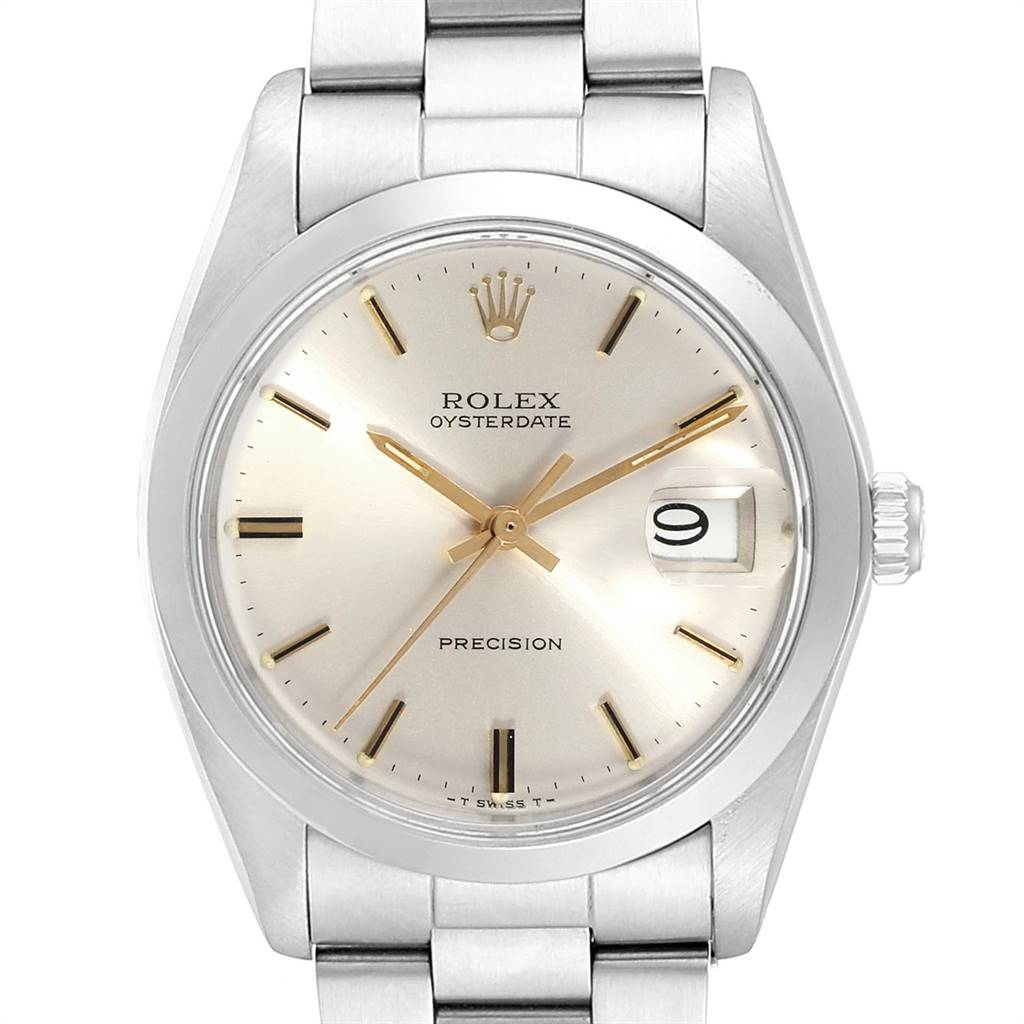 21233 Rolex OysterDate Precision Steel Silver Dial Vintage Mens Watch 6694 SwissWatchExpo