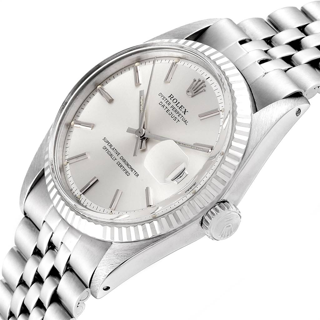 23988 Rolex Datejust Steel White Gold Silver Sigma Dial Vintage Mens Watch 1601 SwissWatchExpo