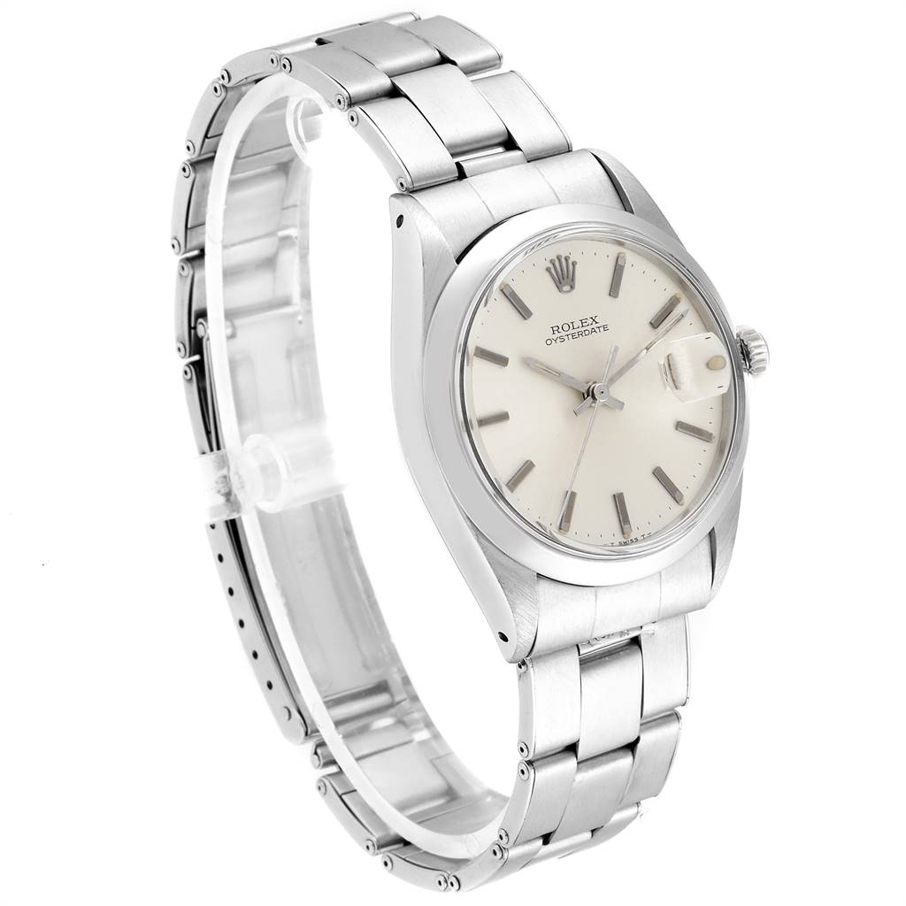 Rolex OysterDate Precision Silver Dial Oyster Bracelet Vintage Watch 6694 SwissWatchExpo