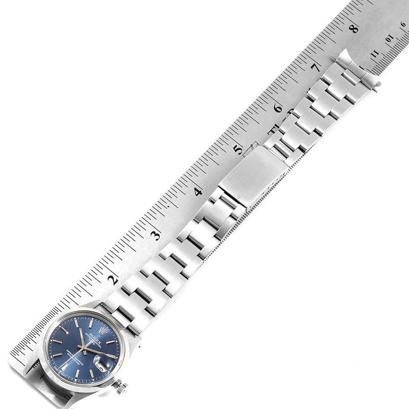 Rolex Date Blue Baton Dial Vintage Steel Mens Watch 15000 SwissWatchExpo