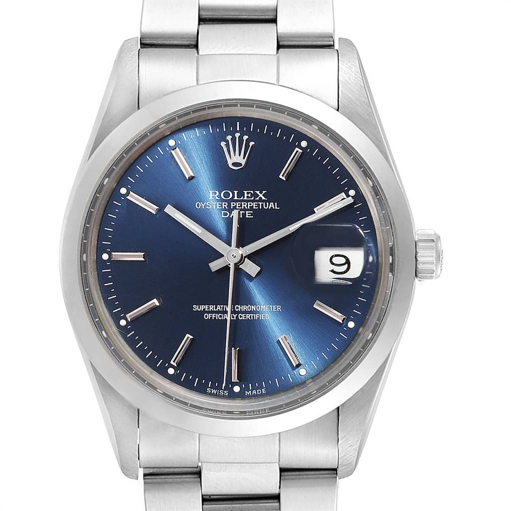 Photo of Rolex Date Blue Baton Dial Vintage Steel Mens Watch 15000
