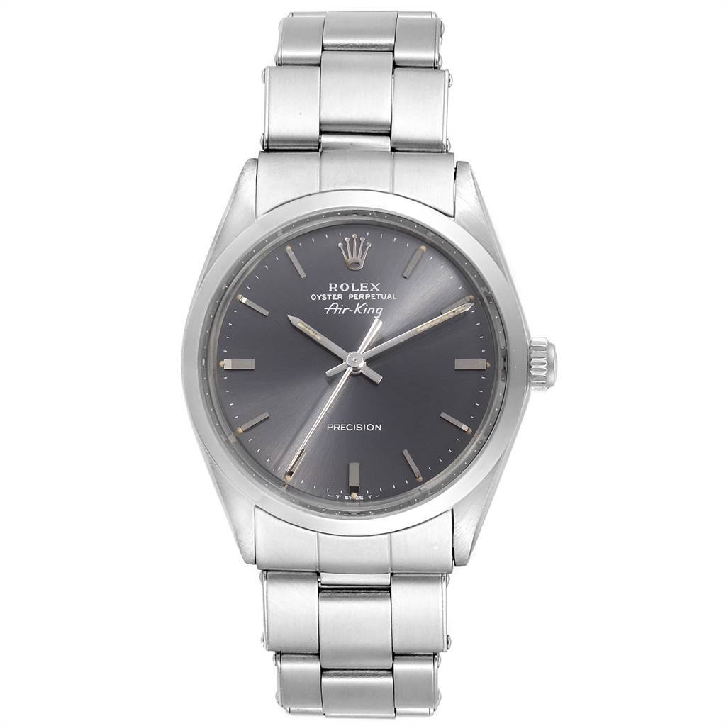 Rolex Air King Vintage Stainless Steel Grey Dial Mens Watch 5500 SwissWatchExpo