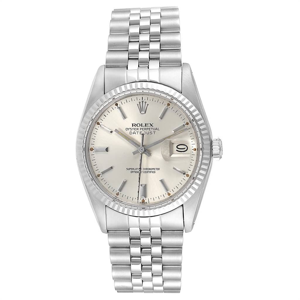 24575 Rolex Datejust Steel White Gold Fluted Bezel Vintage Mens Watch 16014 SwissWatchExpo
