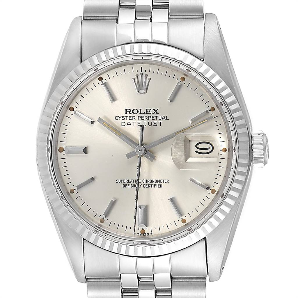 Rolex Datejust Steel White Gold Fluted Bezel Vintage Mens Watch 16014 SwissWatchExpo