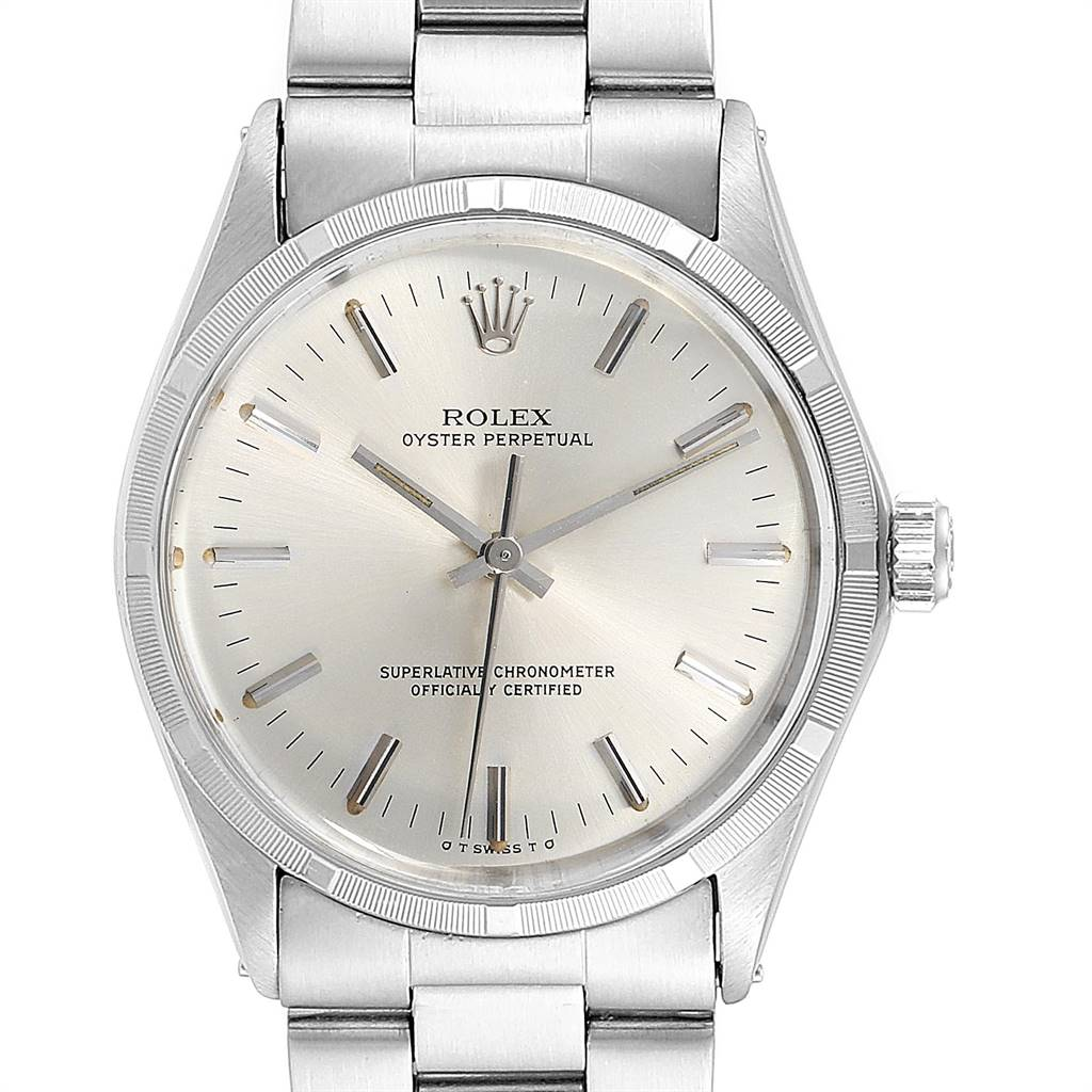 Rolex Oyster Perpetual Silver Dial Vintage Steel Mens Watch 1003 SwissWatchExpo