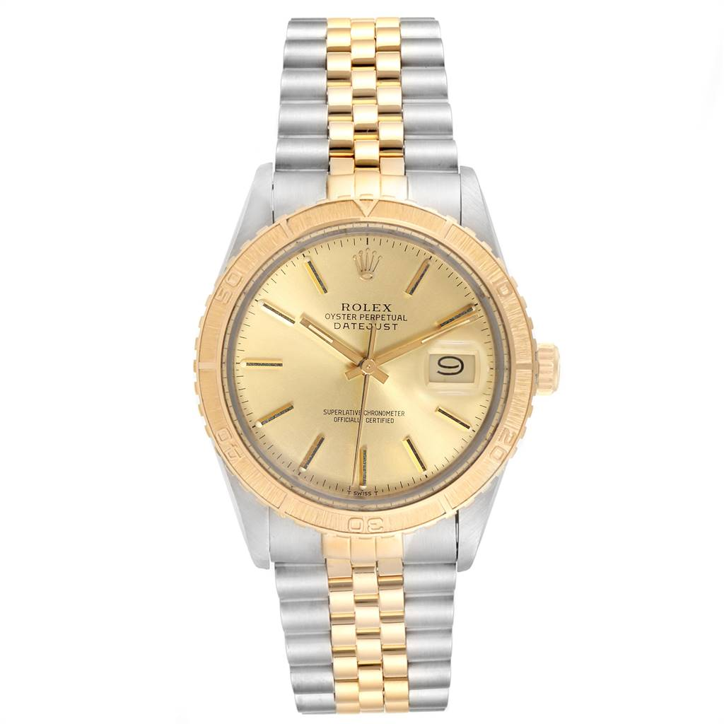 24356 Rolex Datejust Turnograph Steel Yellow Gold Vintage Mens Watch 16253 SwissWatchExpo