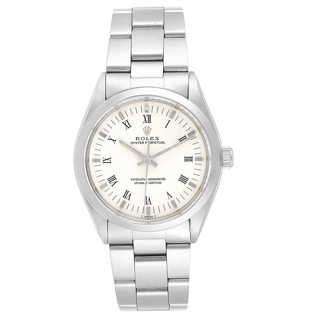 24396 Rolex Oyster Perpetual White Dial Vintage Steel Mens Watch 1002 SwissWatchExpo