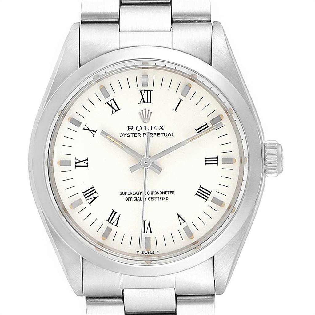 Rolex Oyster Perpetual White Dial Vintage Steel Mens Watch 1002 SwissWatchExpo