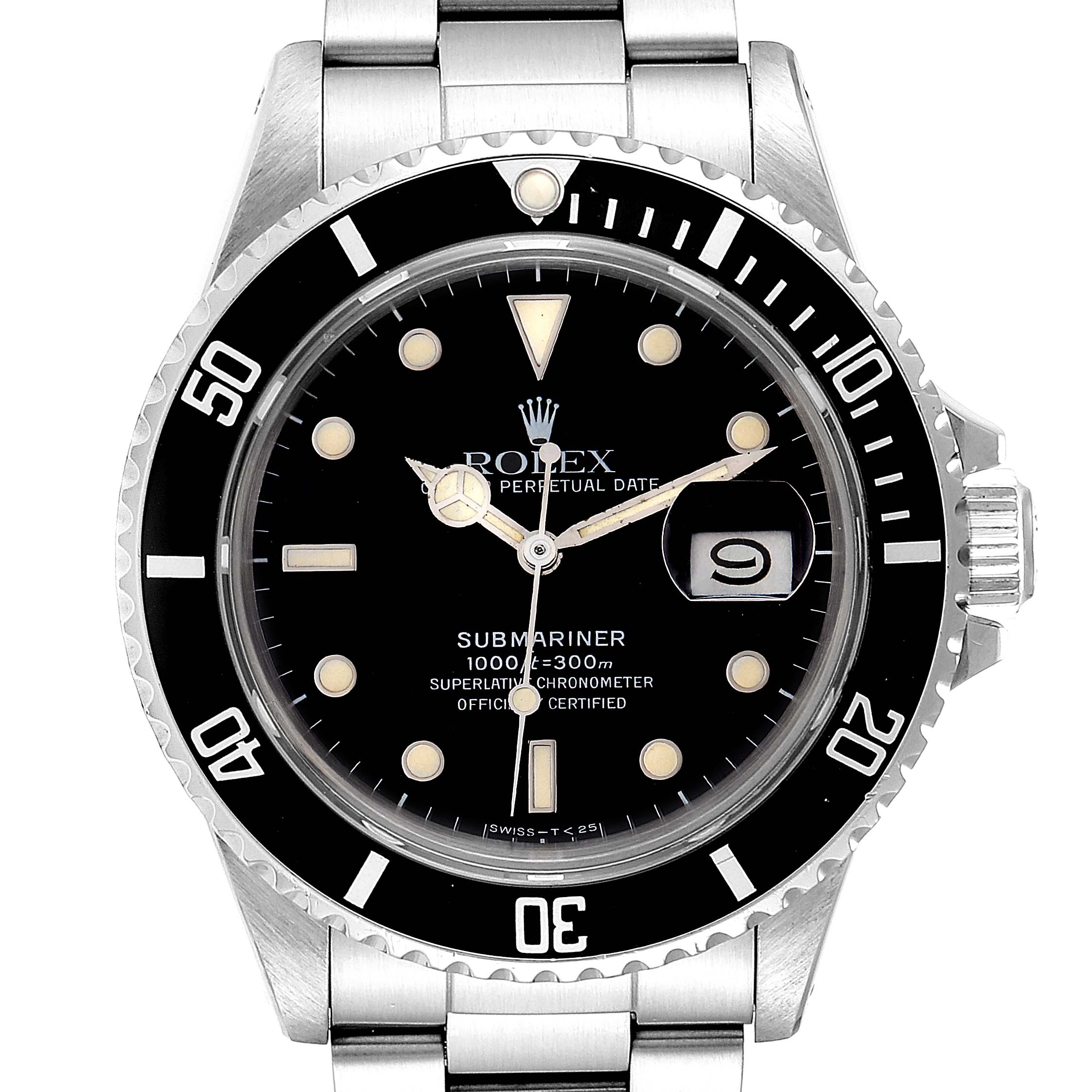 Rolex Submariner Date Steel Mens Vintage Watch 16800 Box SwissWatchExpo