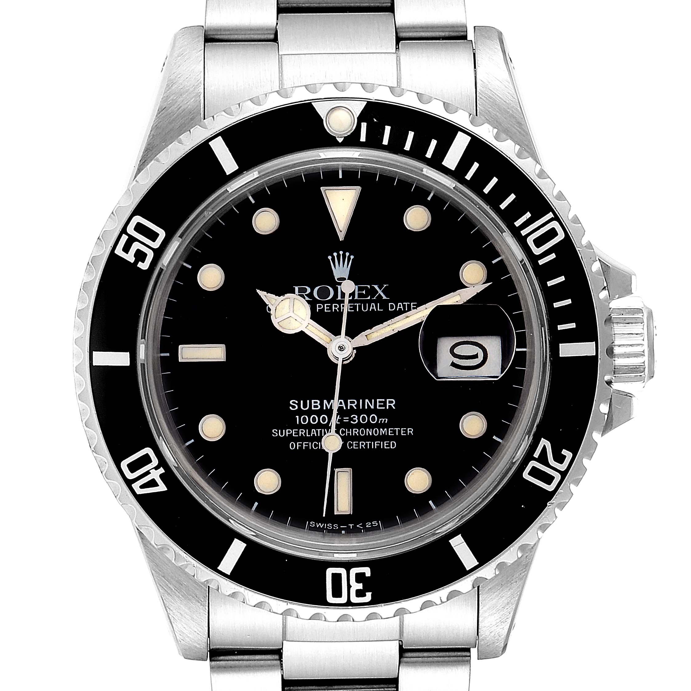 Rolex Submariner Date Steel Mens Vintage Watch 16800 Box