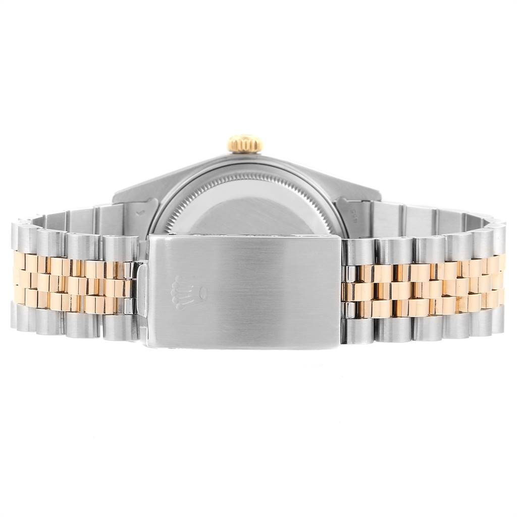 24261 Rolex Datejust 36 Steel Yellow Gold Linen Dial Vintage Mens Watch 16013 SwissWatchExpo
