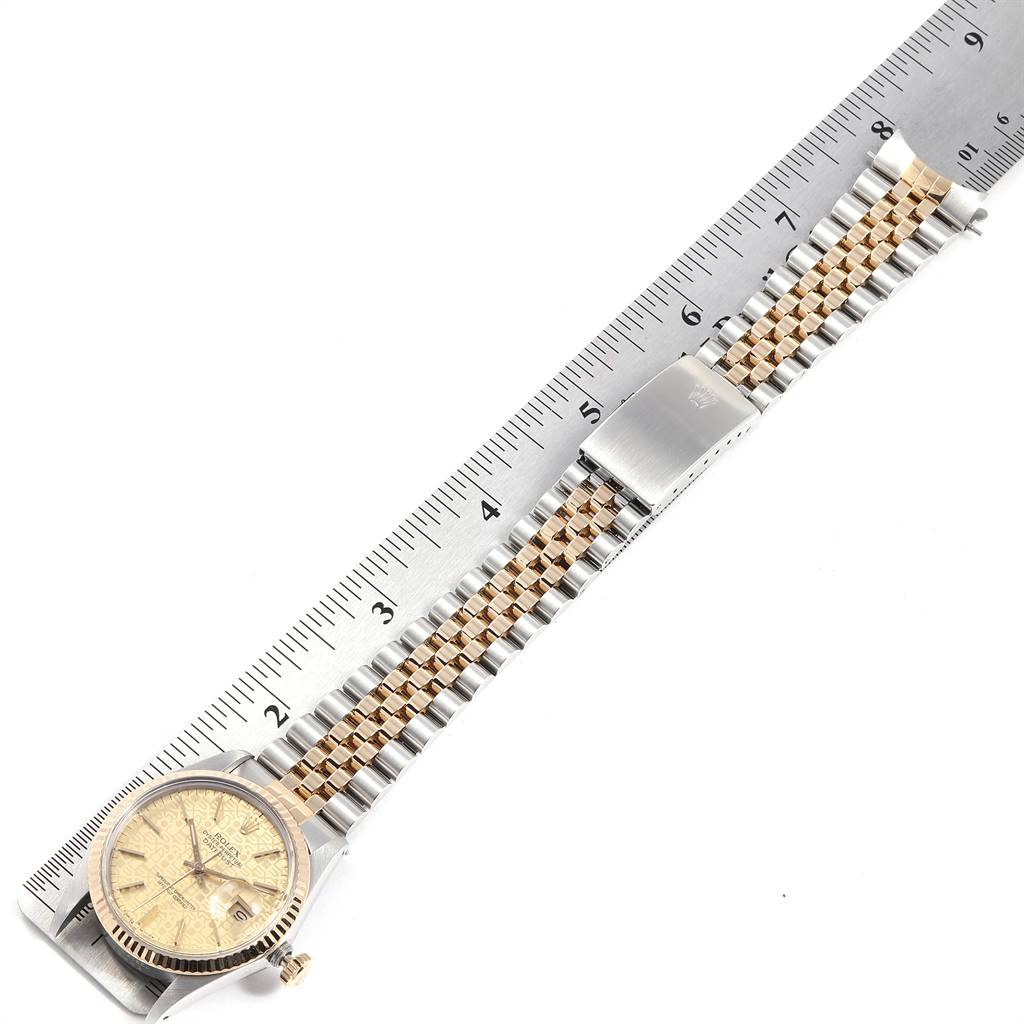 Rolex Datejust Steel Yellow Gold Anniversary Dial Vintage Mens Watch 16013 SwissWatchExpo