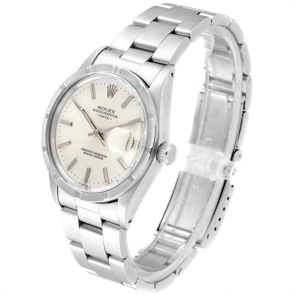 24347 Rolex Date Stainless Steel Silver Dial Vintage Mens Watch 15010 SwissWatchExpo