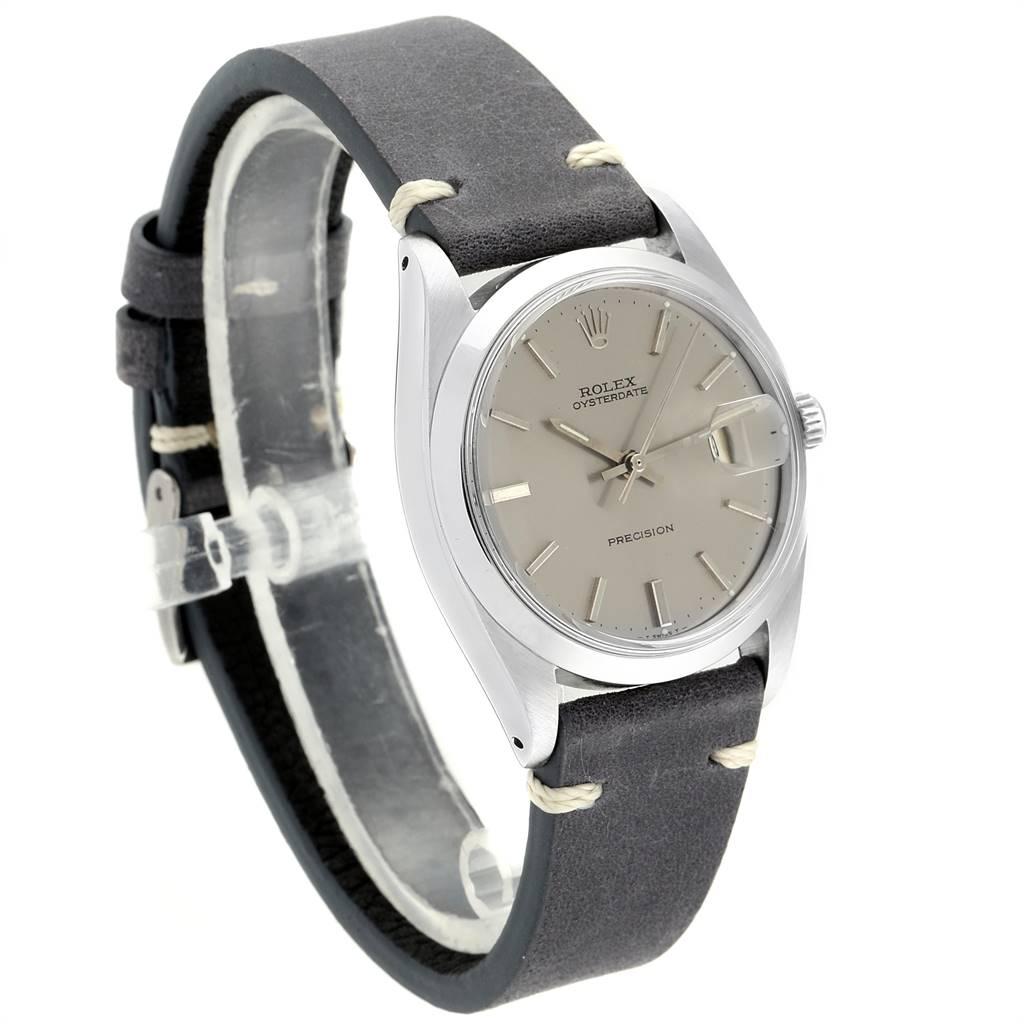 Rolex OysterDate Precision Grey Dial Steel Vintage Mens Watch 6694 SwissWatchExpo