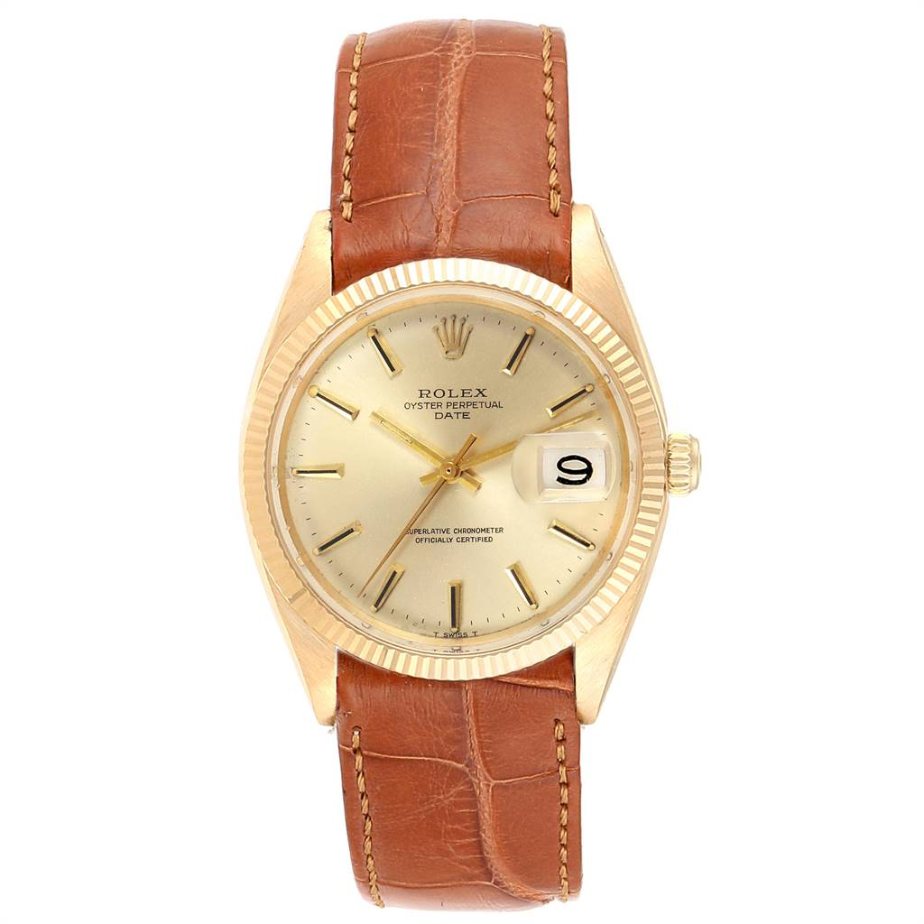 4488X Rolex Date 14K Yellow Gold Automatic Vintage Mens Watch 1503 SwissWatchExpo