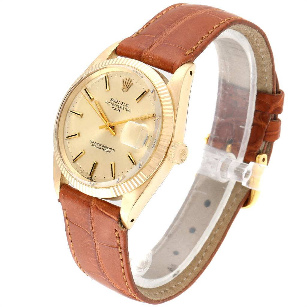 Rolex Date 14K Yellow Gold Automatic Vintage Mens Watch 1503 SwissWatchExpo