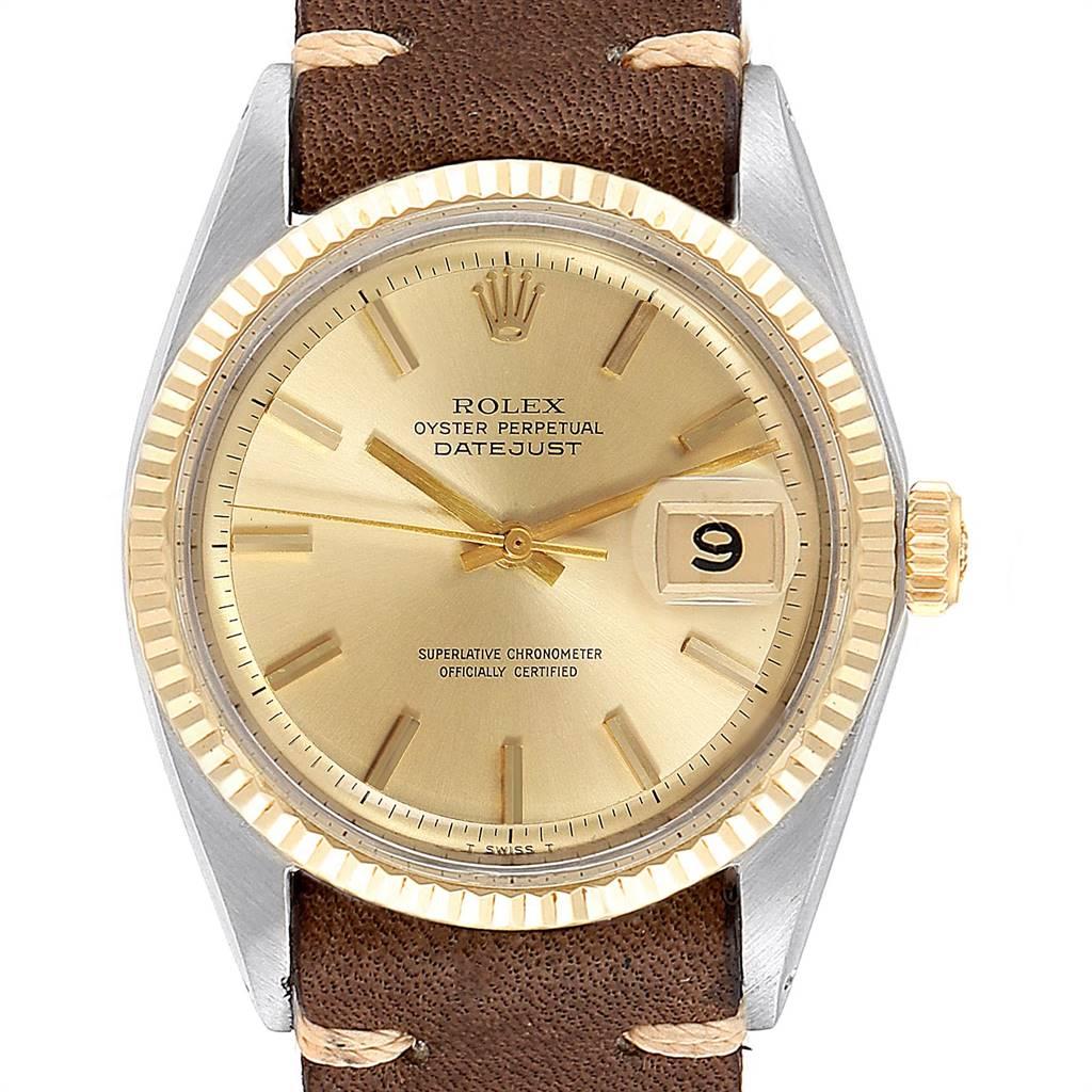 24258 Rolex Datejust Steel Yellow Gold Brown Strap Vintage Mens Watch 1601 SwissWatchExpo