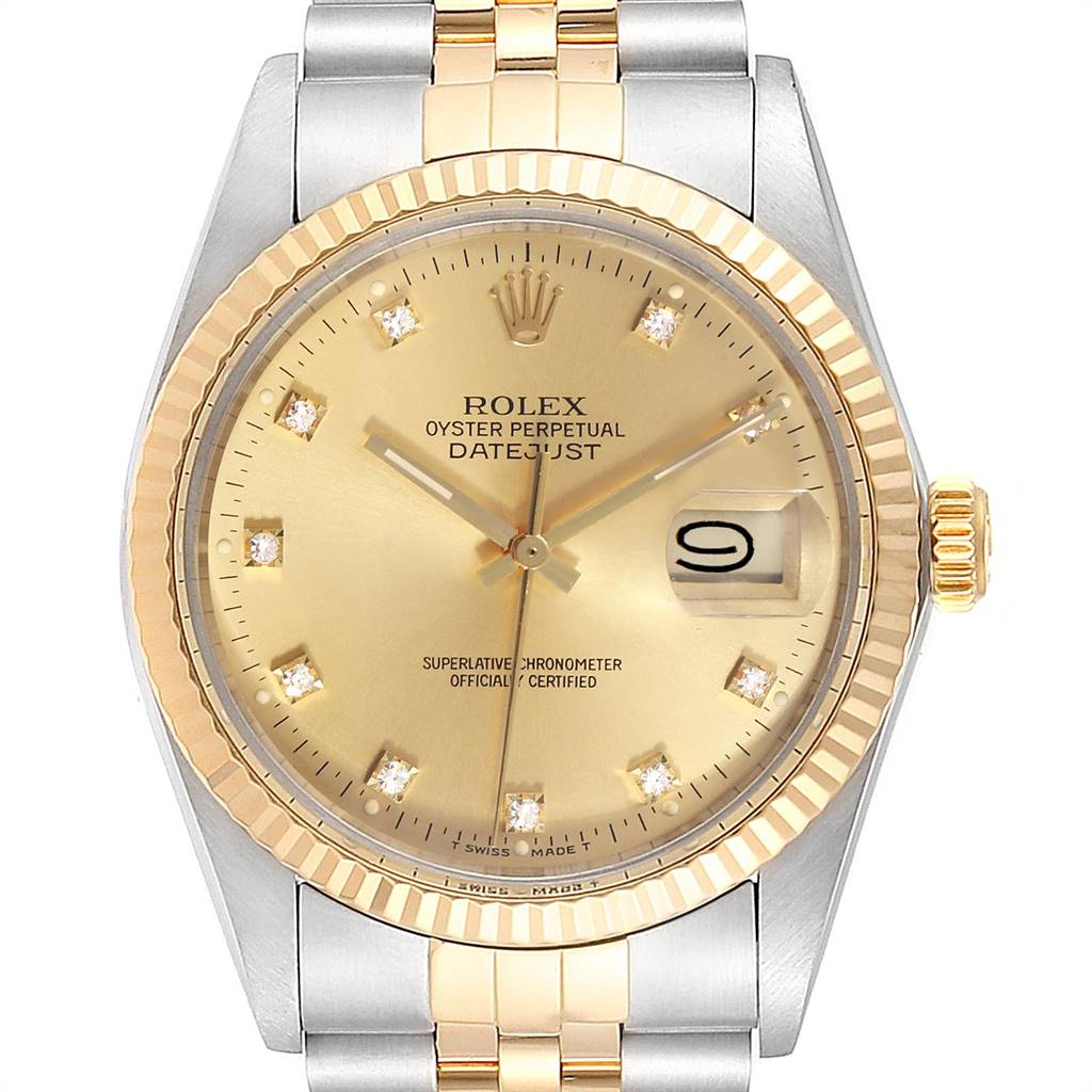 Rolex Datejust 36 Steel Yellow Gold Diamond Vintage Mens Watch 16013 SwissWatchExpo