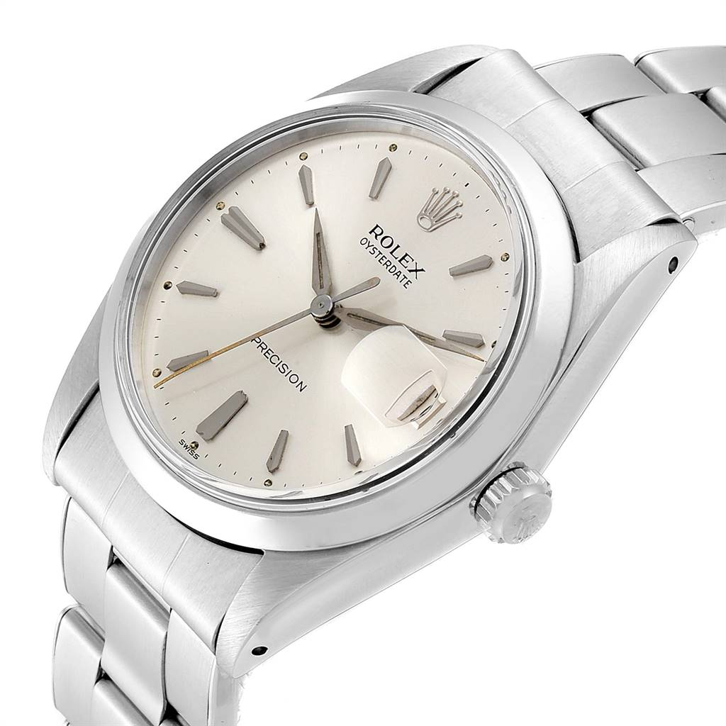 24548 Rolex OysterDate Precision Silver Dial Steel Vintage Mens Watch 6694 SwissWatchExpo