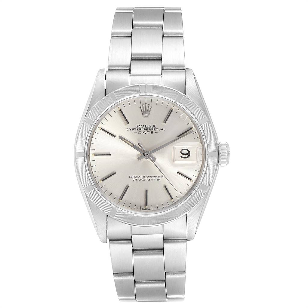 24294 Rolex Date Vintage Silver Baton Dial Stainless Steel Mens Watch 1501 SwissWatchExpo