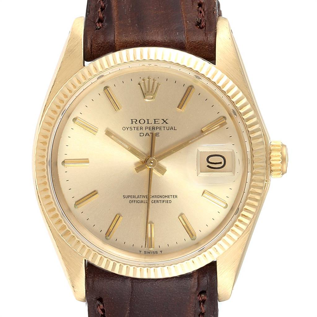 24128 Rolex Date 14K Yellow Gold Automatic Vintage Mens Watch 1503 SwissWatchExpo