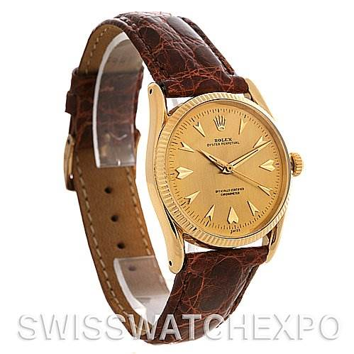 2626 Rolex  Oyster Perpetual 14K Yellow Gold Vintage Bombe 6593 SwissWatchExpo