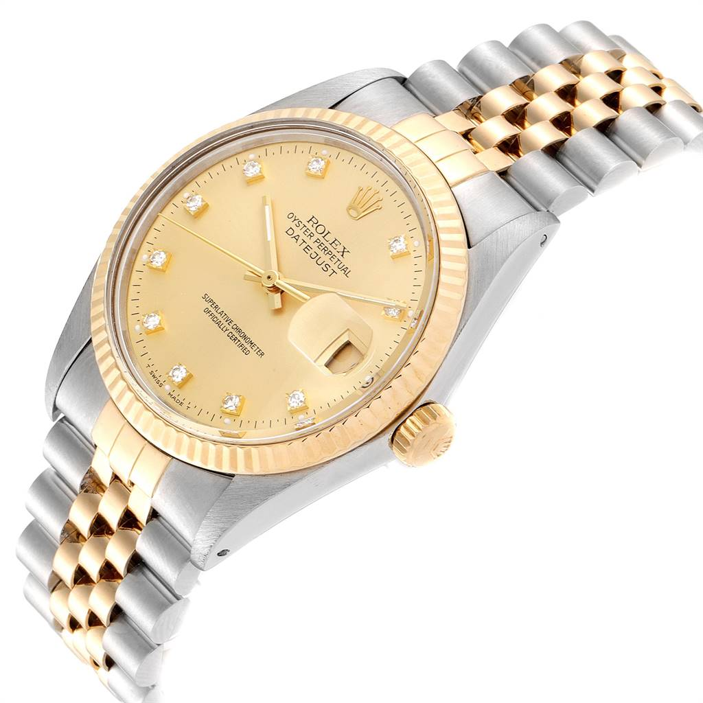24265 Rolex Datejust 36 Steel Yellow Gold Diamond Vintage Mens Watch 16013 SwissWatchExpo