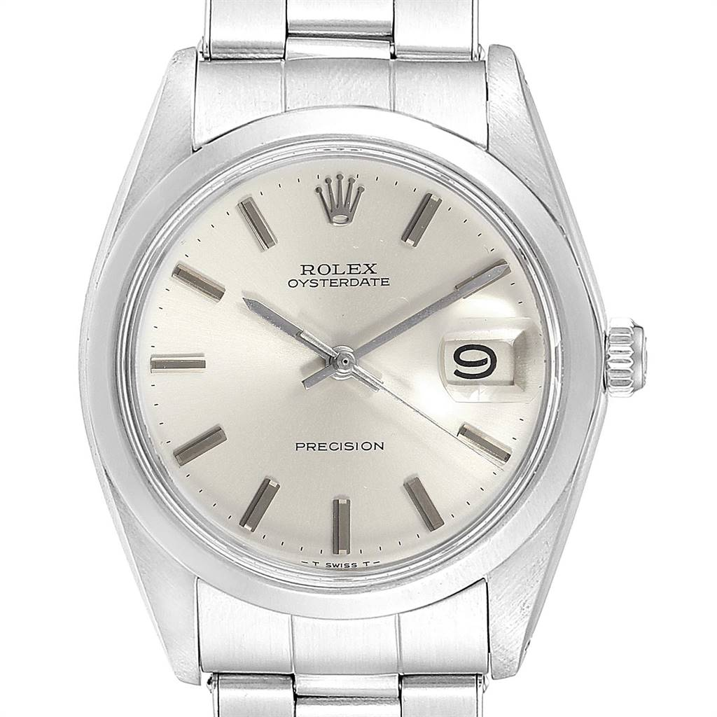 24348 Rolex OysterDate Precision Silver Dial Steel Vintage Mens Watch 6694 SwissWatchExpo