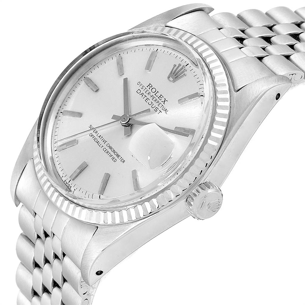 24113 Rolex Datejust Steel White Gold Silver Dial Vintage Mens Watch 1601 SwissWatchExpo