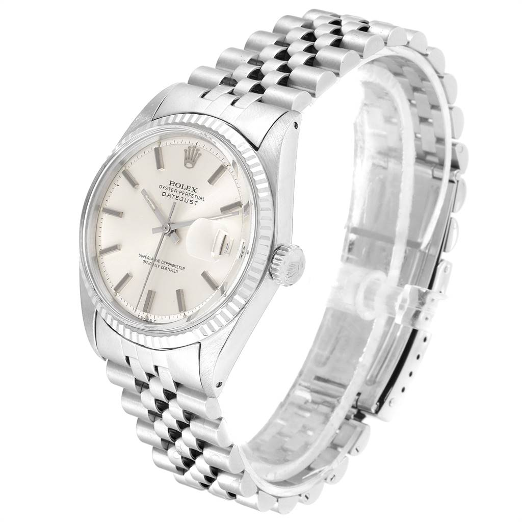 24114 Rolex Datejust Steel White Gold Silver Dial Vintage Mens Watch 1601 SwissWatchExpo
