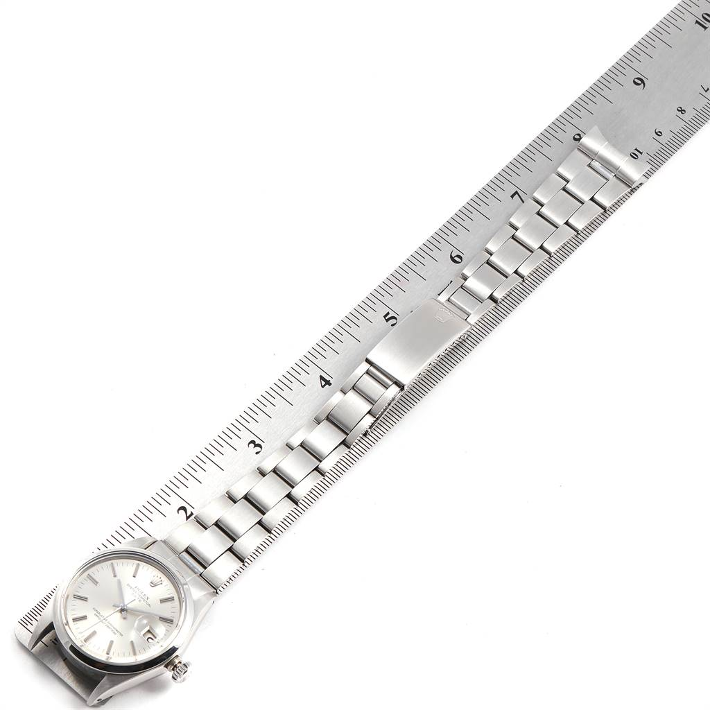 24311 Rolex Date Silver Dial Domed Bezel Vintage Mens Watch 1500 SwissWatchExpo